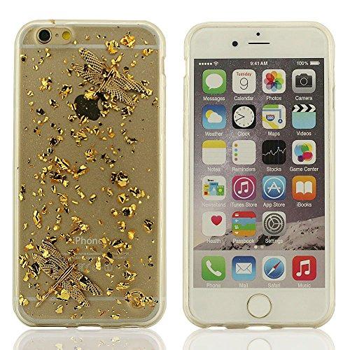 Ambra Stile Chiaro Trasparente Custodia, Morbida Case, Brillante Colore Dorato Custodia per iPhone 6 Plus (5.5 Pollici) & iPhone 6S Plus (5.5 Pollici), Forma-misura Stile - Farfalla D