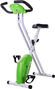homcom Cyclette Magnetica Pieghevole per Dimagrire con Schermo LCD, Intensità e Sellino Regolabile, Verde, 83x43x110cm