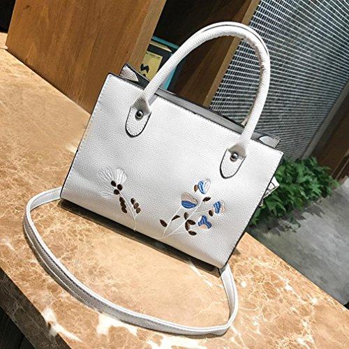 Damen Handtaschen, Huhu833 Frau Tote Casual Taschen Crossbody Tasche bestickt Leder Handtasche Schultertasche Grau