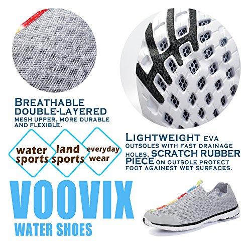 Voovix Herren Aquaschuhe Atmungsaktives Mesh Schnell Trocknend Wasserschuhe Grau02
