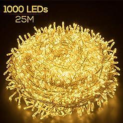 Elegear Luci Natale Esterno 100M 500 LEDs Impermeabile Catena Luminosa LED Illuminazione di Natale per Camere da Letto Giardino Feste Matrimonio
