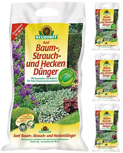 4 x 5 kg Neudorff Azet Baum-, Strauch- und HeckenDünger, NPK 7-3-10