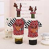 2 x Weihnachten Flaschentasche Flaschentüte Weinflasche für Wein Sekt-Flaschen Weihnachten Dekoration Geschenktaschen Hirsch Design
