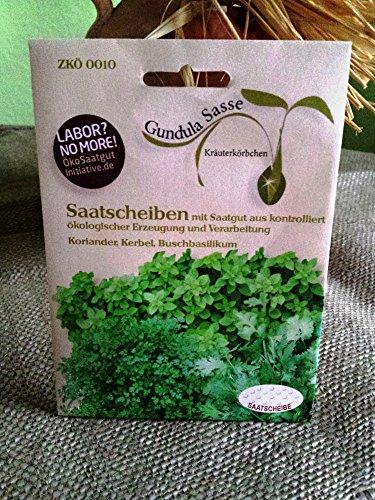 Kräutervariation Bio Saatscheiben Koriander, Kerbel, Buschbasilikum