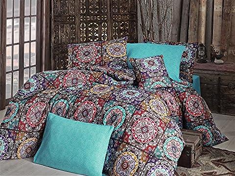 Betten Set Leinen, Bettwäscheset, Bettbezug 2Kissen Fall Paisley Mandala Hippie Gypsy indischen Ethnic Oriental Buddha Yoga