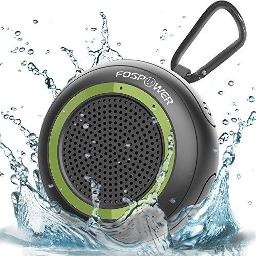 Beach-lautsprecher (Kabelloser Wasserdichter IPX7 Bluetooth 4,2 Tragbarer Drahtloser Lautsprecher, FosPower Stereo Wireless Speaker mit Integriertes Mikrofon für Dusche, Strand, Wandern, Camping - Schwarz / Armee-Grün)