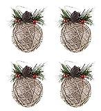 Clever Creations - Decorazioni Albero di Natale infrangibili - Set Palle Natalizie con Bacche e pigne da 5 Pezzi - in spago di Iuta - Larghezza 80 mm