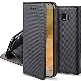 Moozy Case Flip Cover for Samsung J4 – Smart Magnetic Flip Case with Folding Stand
