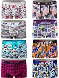 JINSHI Herren 8 Stück Trunks Atmungsaktv Fitness Boxershorts Modisch Underwear Uni Farben Größe 2XL