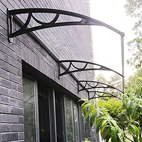 Tuff Concepts Door Awning Patio Window Porch Rain Cover Canopy Shelter(270*98.5 Black Plastic)