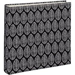 Hama Fotoalbum La Fleur (Jumbo Album mit 100 weißen Seiten, für 400 Fotos im Format 10x15, Blätter-Muster, 30x30) XXL Fotobuch schwarz