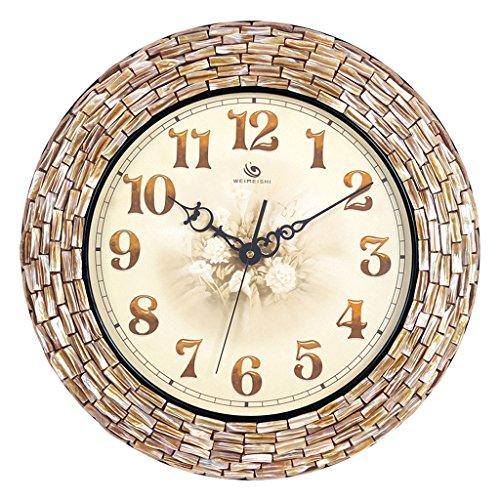 Handmade creative shell mosaic wall clock Mediterranean quartz clock Family living room decoration 18 inches
