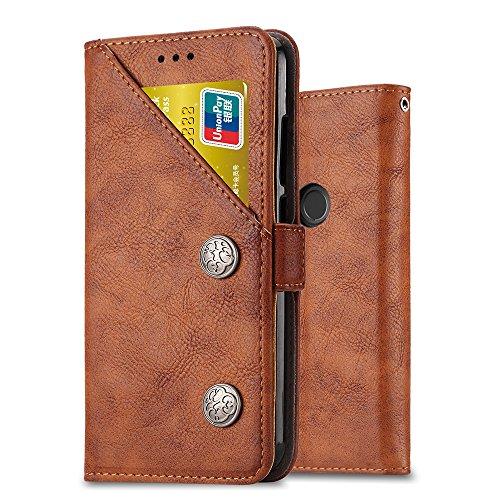 Ferilinso Cover Xiaomi Redmi Note 6 PRO,Custodia Cover Retro in Pelle con Supporto per Slot per Carte di Credito ID Multifunzione (Retro Marrone)