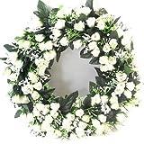 Kranz, 42cm, mit Kunstblumen cremefarben/elfenbeinfarben Rosenkranz für drinnen oder draußen, für Feier, Grab oder Hochzeit