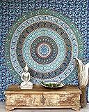 Guru-Shop Indisches Mandala Tuch, Wandtuch, Tagesdecke Mandala Druck - Blau/grün, Mehrfarbig, Baumwolle, 230x210 cm, Bettüberwurf, Sofa Überwurf