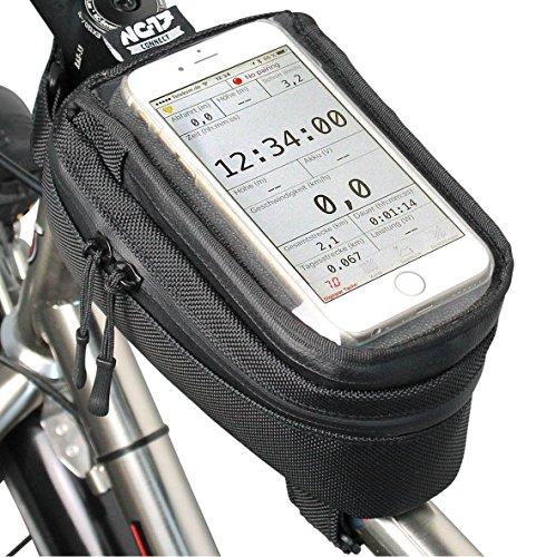 NC-17 connect Fahrrad-/Smartphonetaschen / Universal Oberrohr- oder Vorbautasche mit Klettverschluss / für iPhone, Samsung Galaxy-Reihe / Universal-Handy-Tasche mit Staufach und Kabeldurchlass / Wasserabweisend / schwarz / geeignet für ALLE Fahrradtypen