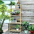 Homfa Bambus Pflanzregal Blumenregal Balkonregal Leiterregal Bambusregal Standregal Gartenregal Balkon Regale 115x48x32CM von HF - Du und dein Garten
