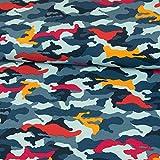 Baumwolljersey Camouflage Muster bunt hellblau Modestoffe Kinderstoffe Tarnmuster Öko-Tex - Preis gilt für 0,5 Meter