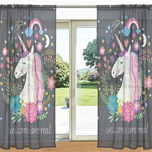 Mydaily floreale unicorno e arcobaleno stampato puro finestra e porta tenda 2pannelli 139,7x 213,4cm rod Pocket pannelli per soggiorno camera da letto Decor, Poliestere, Multi, 55' x 78' Each Panel