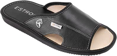 ESTRO Mens Slippers Men House Shoes Leather Home Mule Men's Slipper Memory Sole Verano