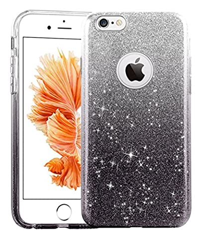 iPhone SE 5 5S Case, uiano® Sparkling Premium [3 in 1 Layers Protection] Hybrid Glitter Bling Bling TPU phone Case Cover For iPhone SE Case, iPhone 5 5S Case (Silver