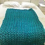 chunky Strickdecke werfen riesige Hand gestrickt weiche Häkeldecke Decke große flauschige warme Decke von yunhigh für Couch Sofa Bett Stuhl Wohnzimmer - türkis