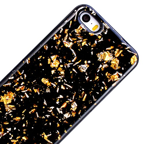 WE LOVE CASE iPhone 5S / 5 / SE Hülle Glitzern Schwarz Lila iPhone 5S / 5 / SE Hülle Silikon Weich Handyhülle Tasche für Mädchen Elegant Backcover , Soft TPU Flexibel Case Handycover Stoßfest Bumper , Gold