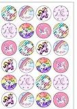 24 obleas comestibles para decoración de tartas, diseño de unicornio arcoíris, ya cortadas