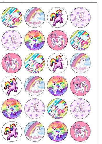 24 obleas comestibles para decoración de tartas, diseño de unicornio arcoíris, ya cortadas.