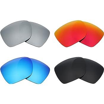 MRY 4 pares polarizadas lentes de repuesto para Oakley Deviation sunglasses-stealth negro/fuego rojo/hielo azul/plata titanio