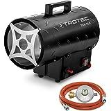TROTEC Gasvärmefläkt TGH 11 E gasvärmare inkl. anslutningsslang och tryckregulator 10 kW för vanliga gasflaskor