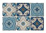 Queence | Design-Untersetzer aus Naturstein | edle Dekorative Stein-Untersetzer | für Gläser | Coaster | 6-teilig | Untersetzer-Set | Vintage Look | 'Blaue Fliesen' | Größe: 10x10 cm