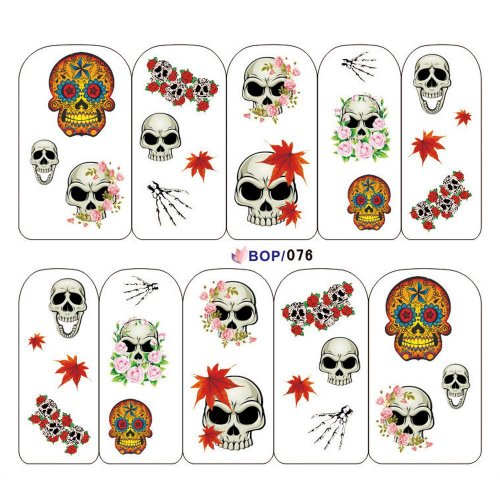 Punk Nail Art Tips Halloween Skull Decal Wrap Water Transfer Stickers DIY Decorations Fashion Gift Geschenk #001 (Halloween Strass Transfers)