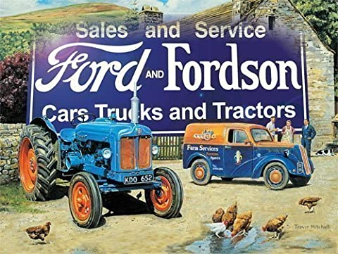 Enseigne Métallique Emaillée Style Vintage Ford And Fordson Sales And Service 40 x 30cm