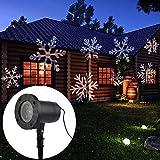 LED Projektionslampe Schneeflocke Pattern Weihnachtsbeleuchtung IP65 Wasserdicht Gartenbeleuchtung Dekotation für Weihnachten Innen und Außen Deko Beleuchtung (weiße Schneeflocken)
