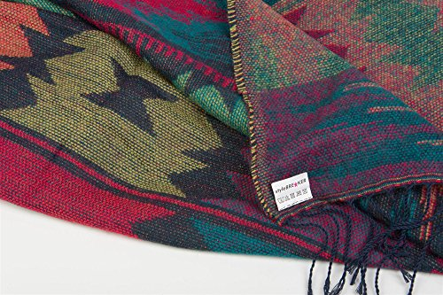styleBREAKER Poncho im Azteken, Ethno Design mit Kapuze und Knebelknopf Verschluss, Umhang Cape, Damen 08010006 Dunkelblau-Rot-Türkis