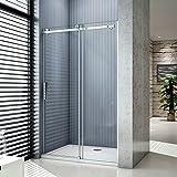 Porte de douche coulissante 140x195cm,installation en niche 8mm verre trempé, vitrification NANO, anticalcaire,