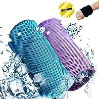 Joy-Fun Kühlendes Handtuch Mikrofaser Fitness Zubehör Sporthandtuch für Training Yoga Laufen Golf und Reisen 2 Pack mit Bonus