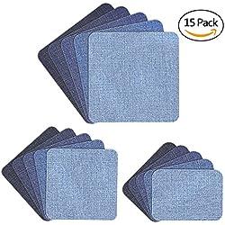 Muscccm Toppe termoadesive, 15 Pezzi Toppe Jeans per Vestiti Applicazioni Fai Da Te Fai Artigianato Jeans Patch Riparazione Kit Accessorio, 5 Colori