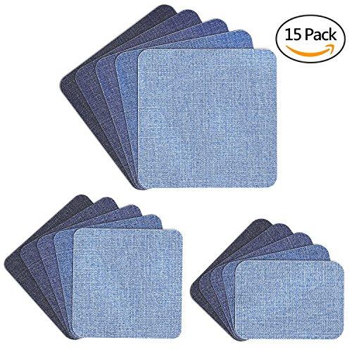 Denim-patch-kit (Muscccm Patches zum aufbügeln, 15 Stück 5 Farben DIY Aufbügelflicken Bügelflicken Denim Baumwolle Patches Bügeleisen Reparatursatz 3 Größen (5 x 5 Zoll, 3 x 3 Zoll, 2 x 3 Zoll))