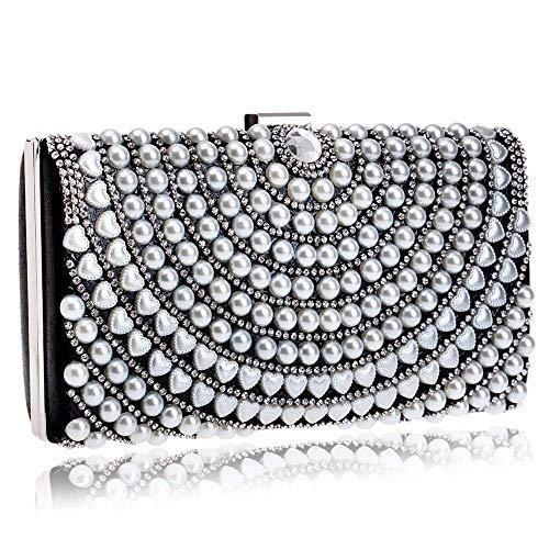 Voll Perlen Handtasche (Aonywb Womens Clutch Abend Taschen voll Perlen Kunstperlen Handtasche für Hochzeit Parites Prom)