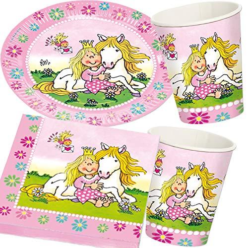 37-TLG. Party-Set * Prinzessin Miabella * für Kindergeburtstag und Mottoparty | Teller + Becher + Servietten + Deko | Geburtstag Blumen Mädchen rosa pink Pferd Pony