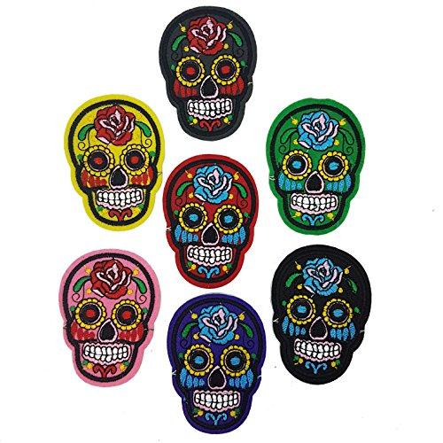 Sugar Skull Candy mexikanischen Patch Badge Day Of Dead Motiv Applikation Halloween von Zubehör Dachboden® (Eisen Auf Halloween-applikationen)