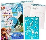 alles-meine.de GmbH 1 Stück _ Malbuch / Malset -  Disney - die Eiskönigin - Frozen  - Malblock mit Schablonen + Motiv Papierbögen - Bastelbuch & Malvorlagen zum Ausmalen Malspa..