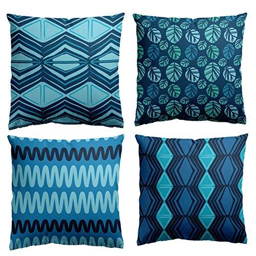 Huifengs copriletto cuscino copre piazza federa resistente in cotone morbido motivo geometrico blu verde decorativo cuscino set di 4sedie per divani letto 45,7x 45,7cm, 45x 45cm