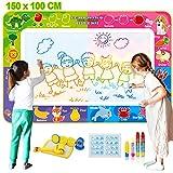Fivejoy Wasser Zeichnung Doodle Matte 150 x 100 cm, Aqua Drawing Matte, 2 in 1 Magic Gekritzel Matte für 4 - 6 Kinder - Vielfältiges Zubehör, Kinder Lernspielzeug für...