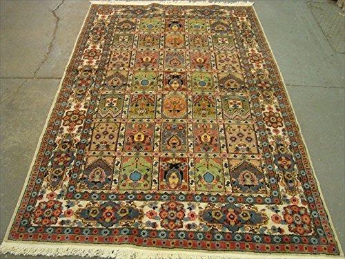 AHMEDANI Kaschan Medaillon Floral Rechteck Bereich Teppich Hand Geknotet Seide Wolle Teppich (7.10x 5,3) ' (Getuftet Boden-teppich)