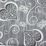 Tessuto Cotone Shantung CUORI SHABBY Ghirigori Grigio 280 x 280 cm Vari Colori