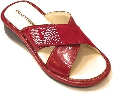 Valleverde 37101 Sandali Ciabatte Donna Pelle Vernice Rosso Strappi