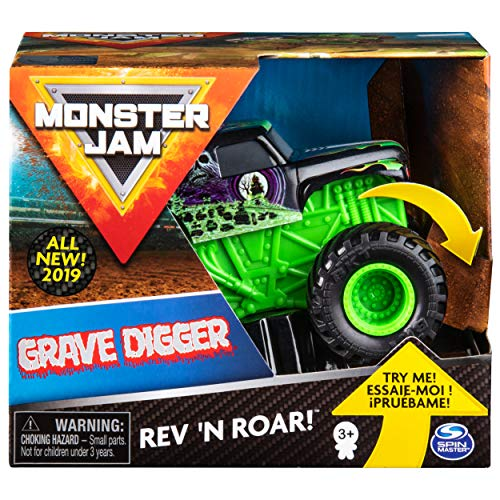 Monster Jam 6053250 Jam-6053250-Original Grave Digger Rev 'N Roar Monster Truck mit Soundeffekt, Maßstab 1:43, Multicolour - Monster Kinder Jam